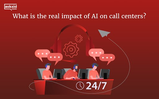 Impact of AI on call centers, showing 24/7 calling customer image